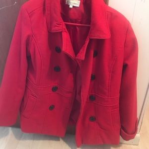 Red coat. Cute, warm, cozy.